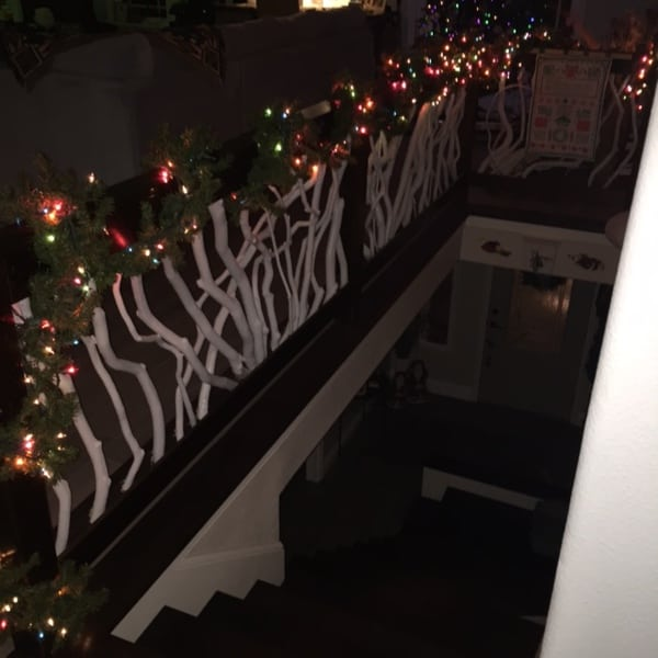 Railing with Holiday Lights