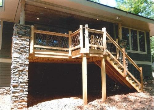 Cedar Posts and Deck Railing