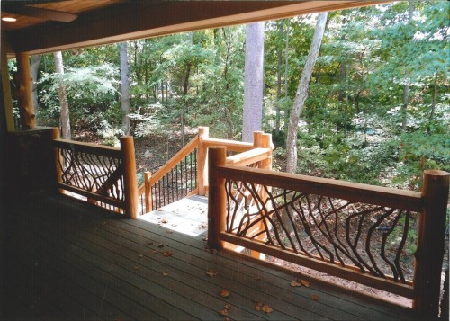 Deck Railing with Cedar Log Posts
