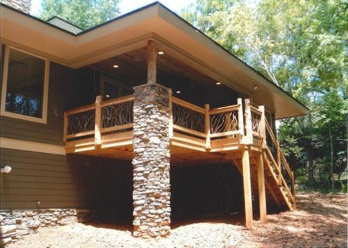 Wood Railing with Cedar Newel Posts