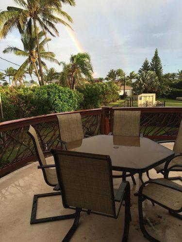Double rainbow over Hawaiian deck