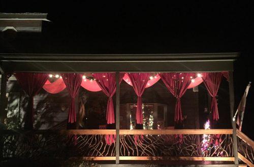 Laurel railings at night