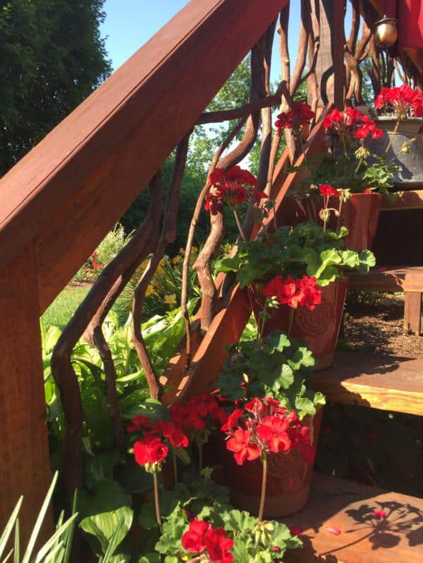 Mountain Laurel stair railing with flowers