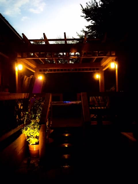 Rustic pergola at night