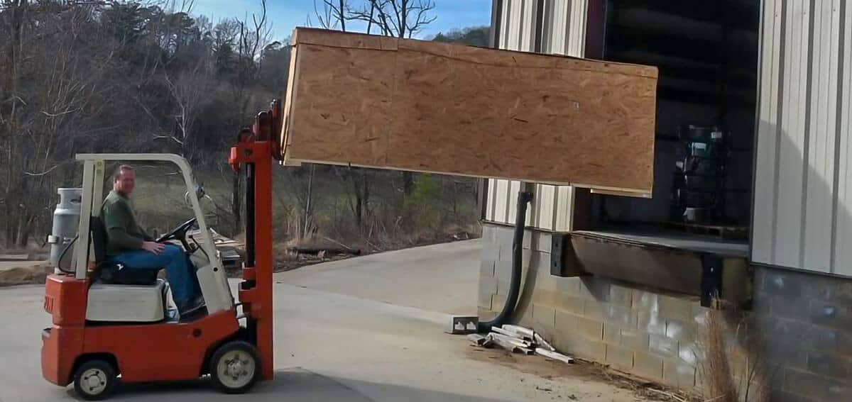 forklift moves handrails boxed