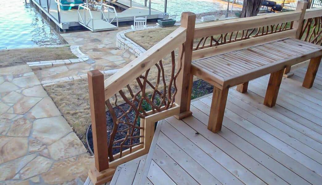 custom stairs section wood railing