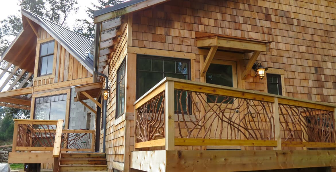 laurel railing in cedar house