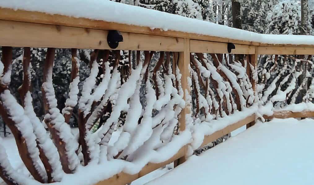 snow on handrails