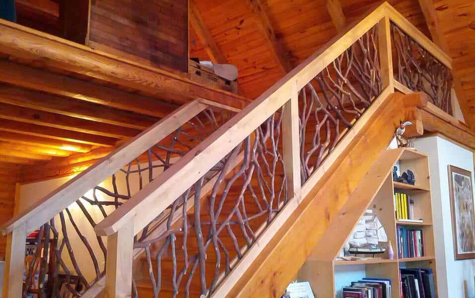 Stain stair railing