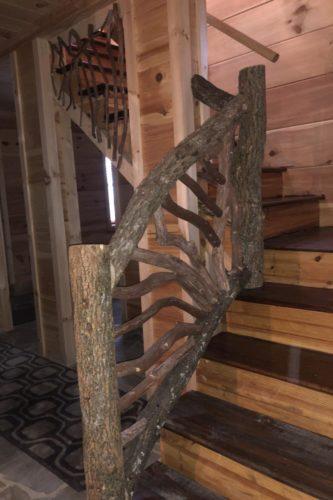 Bark On Locust Stair Railing
