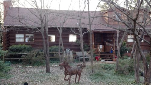 Log Home Railing Before