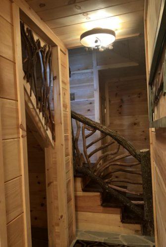 Log Stair Handrail Locust