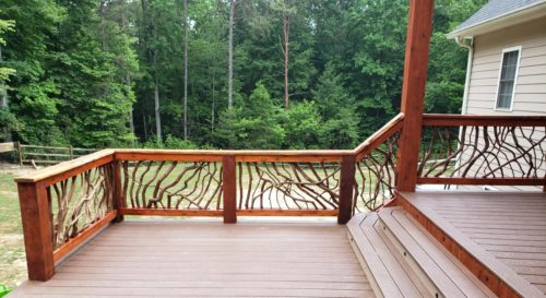Wood Railing In The Forest