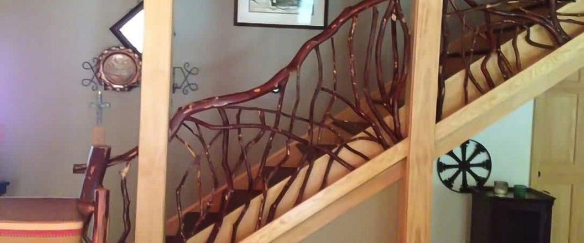 Rustic laurel stair rail