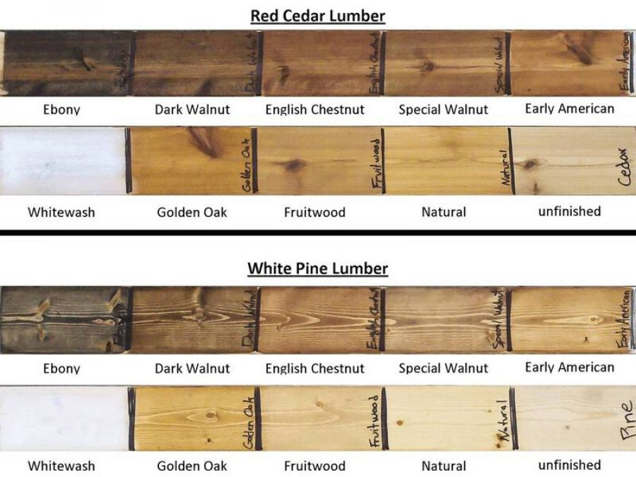 Stain colors on cedar and pine wood