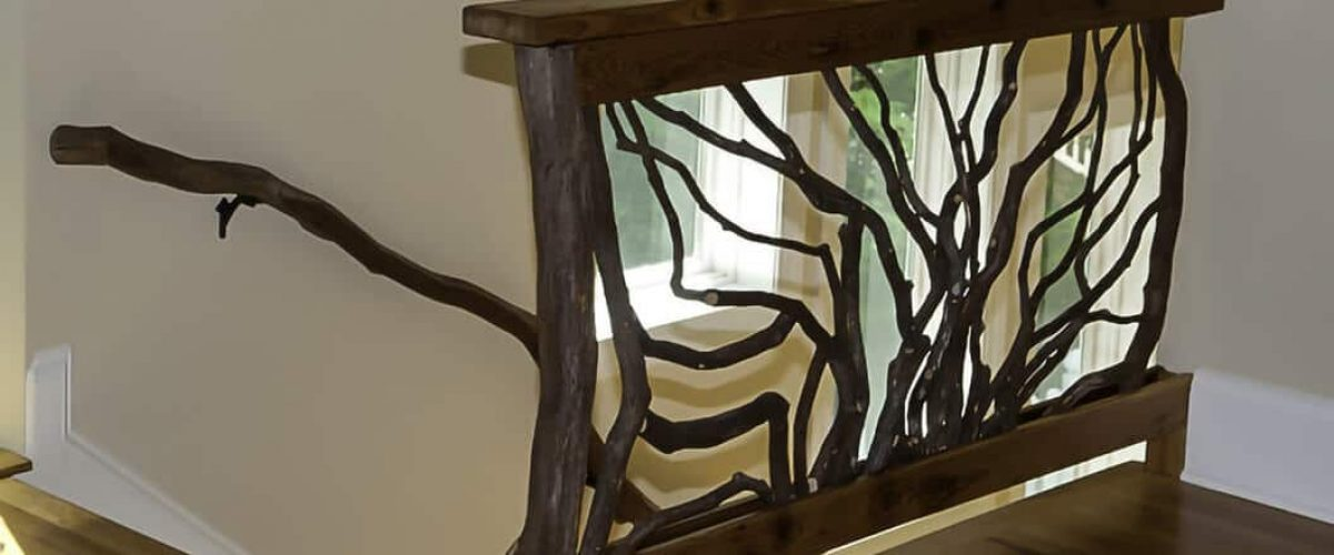 Sunburst wood banister
