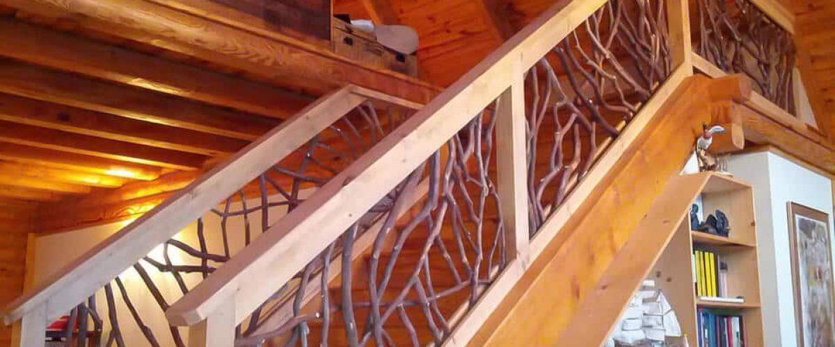 Stain stair railing